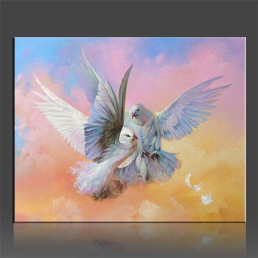 Peace Dove Couples Home Decor DIY Cool Painting By Numbers Gift Coloring Picture Canvas Lovely Wall