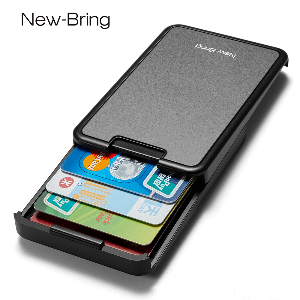 NewBring RFID Blocking  Sliding Wallet Card Holder Plastic Card Money Purse Carbon Fiber For Men Women M Ale Female