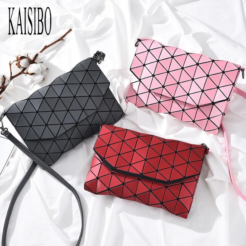 цена KAISIBO Matte Women Fashion Flap Bag Shoulder Bags Girls Geometric Handbag Casual Clutch Messenger Bags