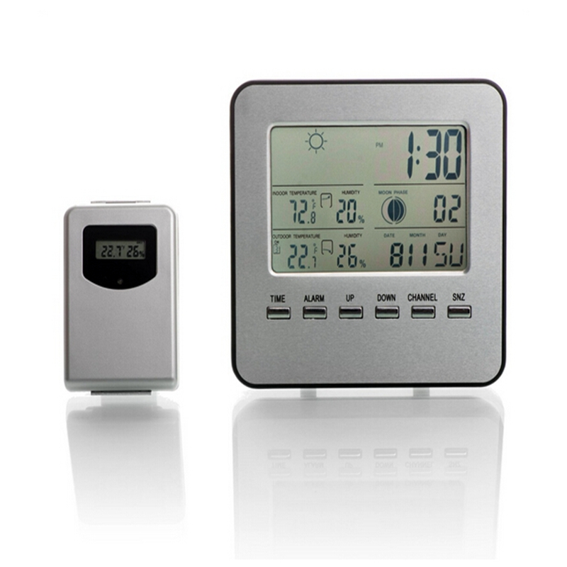 Wireless Lcd Digital Home Thermometer Hygrometer Silver Weather Station Temperature Humidity Meter Forecast Alarm Clock In Instruments