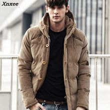New Men Winter Jacket Coat Fashion Quality Cotton Padded Windproof Thick Warm Soft Brand Clothing Hooded Male Down Parkas Xnxee