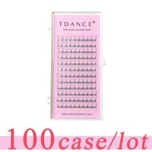 TDANCE 100 pcs/lot Eyelash  Extension short stem  0.07 0.10mm thickness High Quality Pre fanned Volume Lashes Eyelash Extension