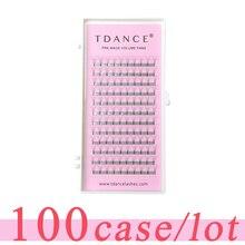 TDANCE Extension de cils, 100 pièces/lot, faux cils à tige courte, épaisseur de 0.07 à 0.10mm