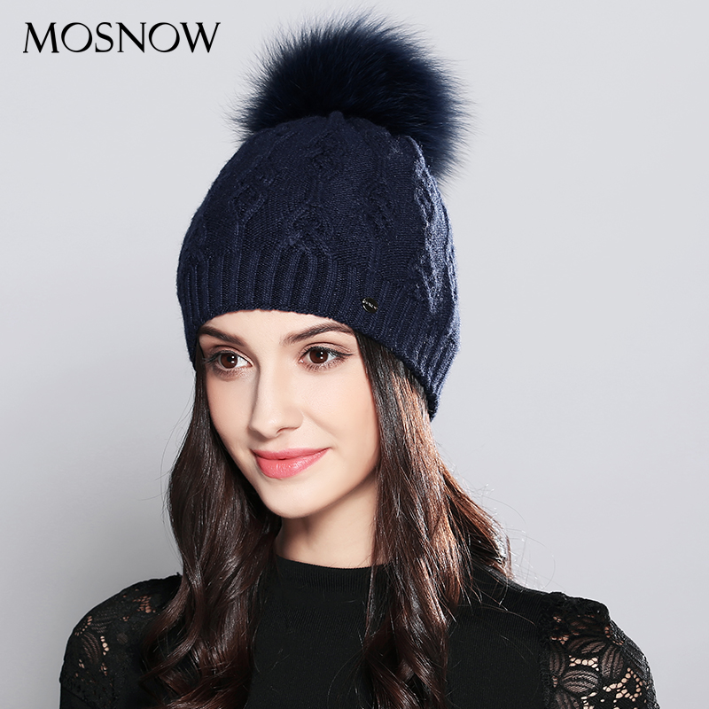 Beanie   For Woman Winter Hats Elegant Wool Knitted 2018 Natural Raccoon Fur Pom Poms Stripe Hat Female   Skullies     Beanies   #MZ710B