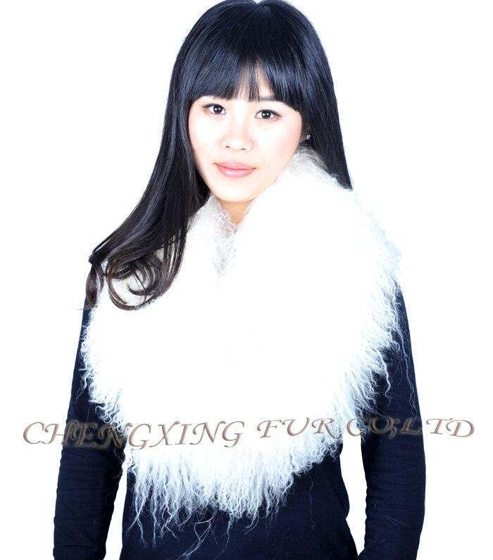 Настоящий монгольский овечий меховой воротник настоящий овечий мех шарф шарфы накидка шейный платок меховой шарф - Цвет: white