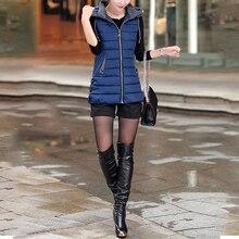 New Autumn Winter Vest Women Waistcoat Sleeveless Jacket Hooded Warm Long Vest Plus Size 5XL