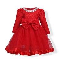DapChild Bambini Vestito Rosso A Maniche Lunghe In Pizzo Vestiti Delle Ragazze Della Principessa Costumi Del Partito Bello Vestito dal tutu Fiori Abiti di Sfera Primavera