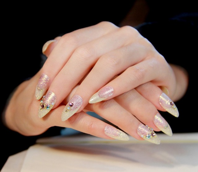Free shipping High Quality French pointed Fake Nail long Gold color ...