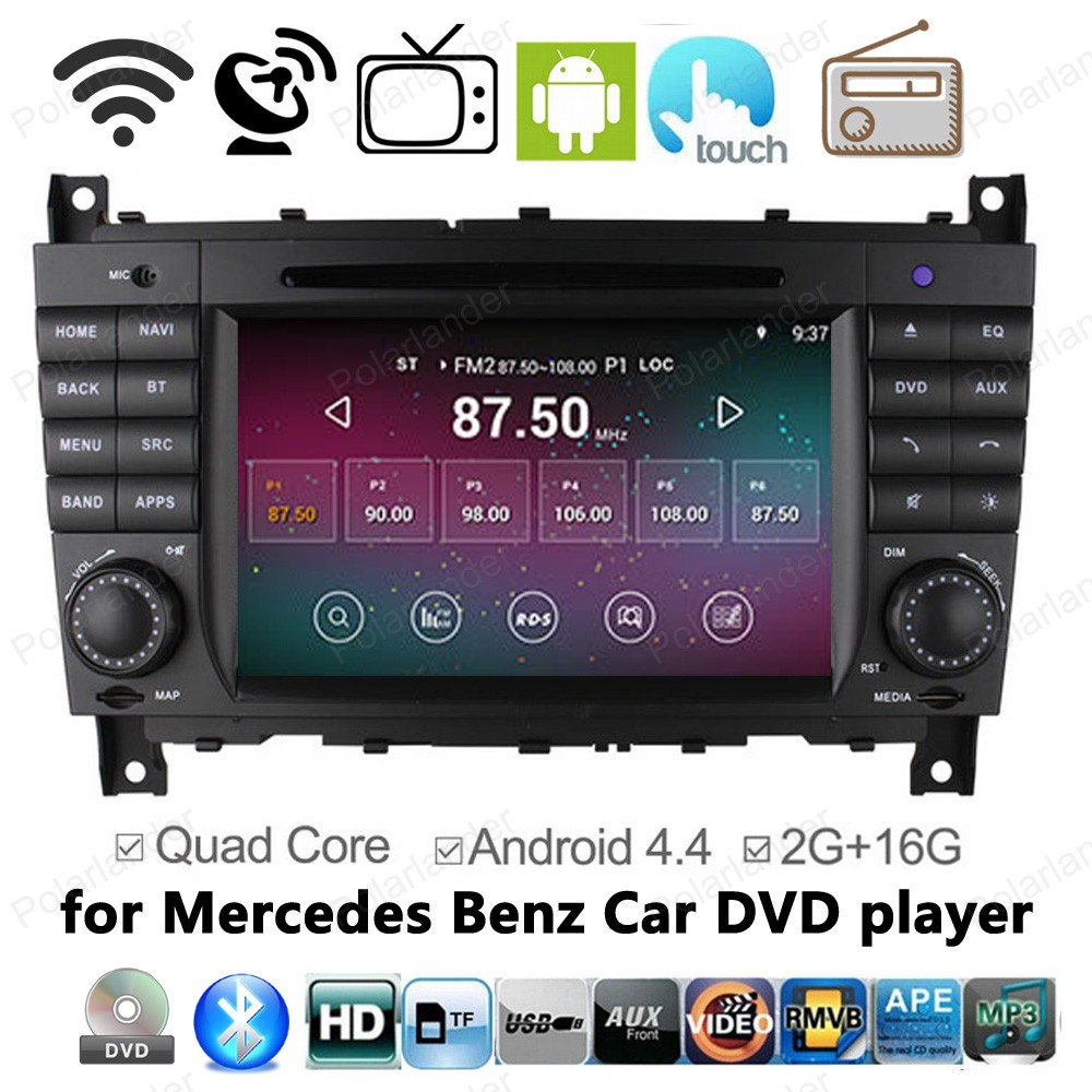 Android 4.4 Car DVD Radio for Mercedes Benz C CLK CLS CLC W203 W209 W219 C180 C200 C220 C230 with GPS BT wifi tv function