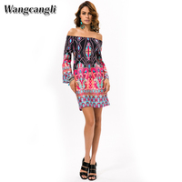 Hot Style Dress Europe And America Foreign Trade Long Sleeve Dress Colorful Thai Wind Beach Printing