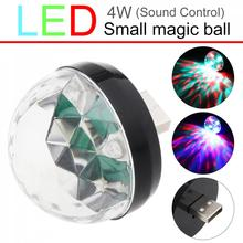 Mini USB LED Light Black Crystal Magic Ball 4W RGB Colorful Stage Light Decoration Lamp for Home / Car / KTV / StageWedding Show sencart 3 led rgb light motorcycle car decoration handle lamp silver black 3 x lr44 2 pcs
