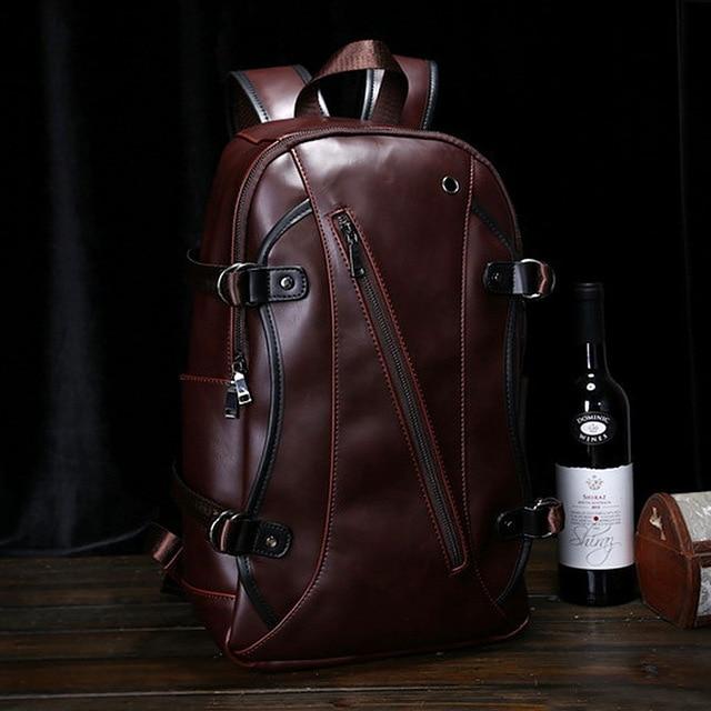 Vintage PU Leather Backpack Fashion Backpack Men Backpack for 14'' Laptop bag Middle School Bags 2016 new