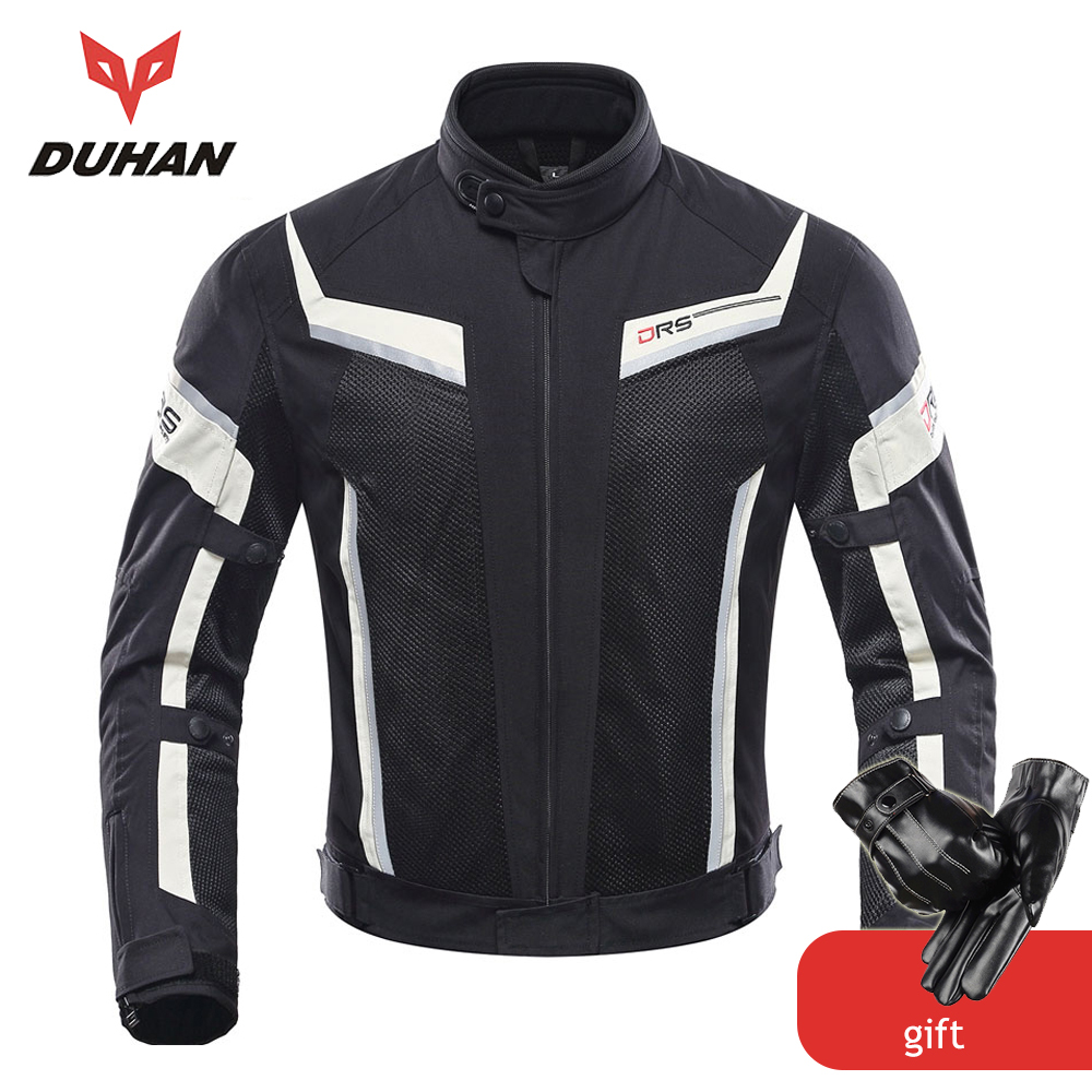 DUHAN Chaqueta de Moto Hombres Pantalones Moto Verano Moto de Protección Traje de Malla Moto Racing Chaquetas Ropa Motociclista Blouson