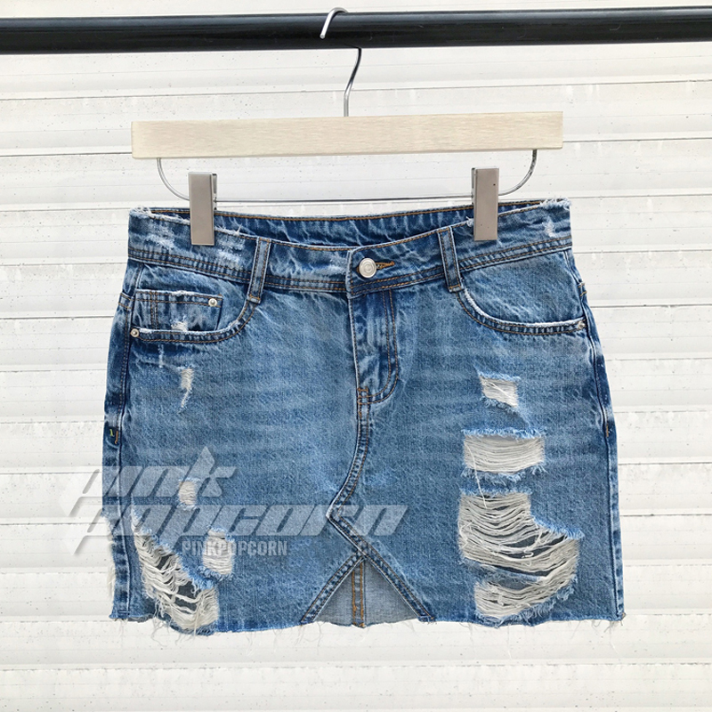 4d3e6e4eee1b US $14.99 |Kurze Jeans Zerrissene Rock Frauen Denim Blue Rock Hohe Taille  Mini Jean Rock Mit Löchern Asymmetrische Eine Linie Saia Jeans in Kurze ...