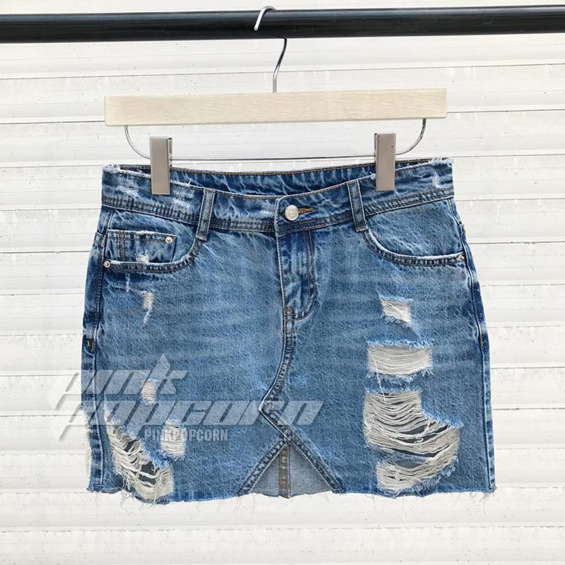 Pantalones Vaqueros Rasgados Mujeres De La Falda Corta Falda