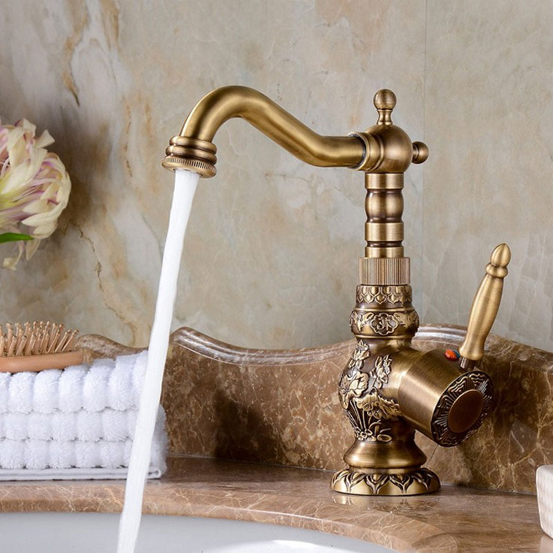 Solid Brass Short Tall antique brass Polish  Bathroom Faucet Sink Faucet Deck Mounted Mixer Tap Cold and Hot Water Europe Style-in Basin Faucets from Home Improvement    3