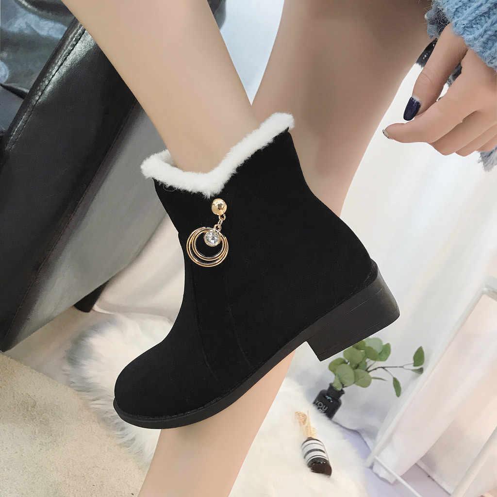Kadın Kar Botları Yuvarlak Ayak Ayakkabı Düz Renk Kare Topuklu Fermuar Süet Sıcak Tutmak sapato feminino estampado # L4