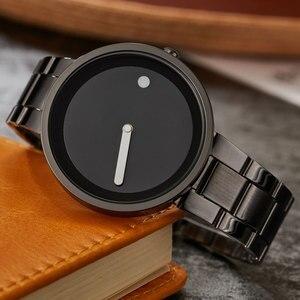Image 2 - Creative Simple Dot Line Watch Men Unique Cool Male Clock Steel Wrist Watch Simple Fashion Quartz Watch Gifts relogio masculino