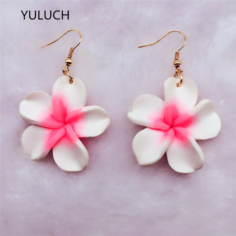 Pink White  Palace Temperament   Korean Woman Fashion Nice Color Cute Handmade Polymer Clay Flower Earring