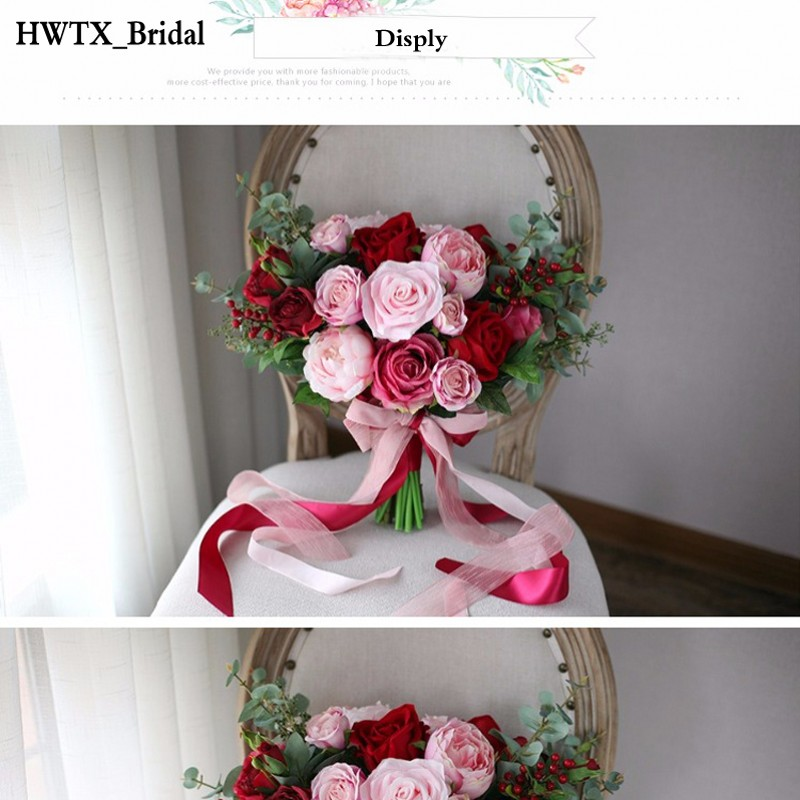 Pink Peony Wedding Bouquet Holding Brooch Flowers 2018 Red Rose ...