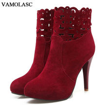 VAMOLASC New Women Autumn Winter Faux Suede Ankle Boots Lace Zipper Thin High Heel Boots Platform Women Shoes Plus Size 34-43
