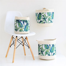 INS Nordic Green Leaf Cotton Rope Storage Basket Tropical Flowers Weaving Finishing Baskets Foldable Sundries Organizer Bucket