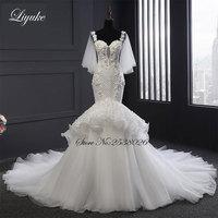 2018 New Arrival Liyuke Grid Design Elegant Tulle Mermaid Wedding Dress Sweetheart Neckline Spaghetti Straps Bride