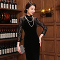 Lace Dress The New Chinese Style Black Double-Layer Fashion Improved Lace Stitching Long Velvet Dress Vestidos De Fiesta 1401