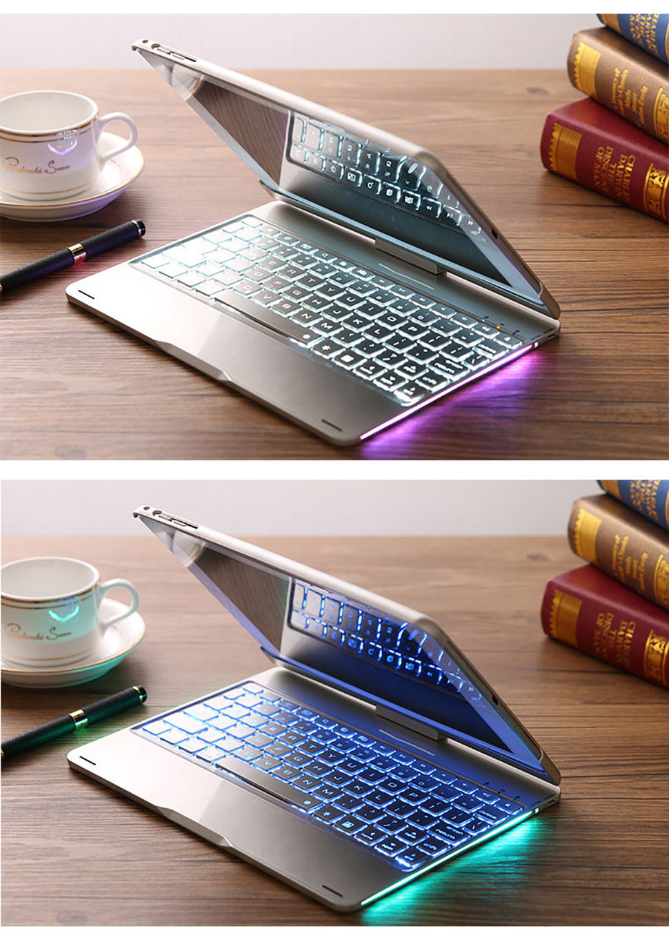 For iPad Pro 11 10.5 9.7 2018 2017 2016 Case Keyboard 360 Rotation 7 Color Backlit Bluetooth Keyboard Cover For iPad Pro Funda (10)
