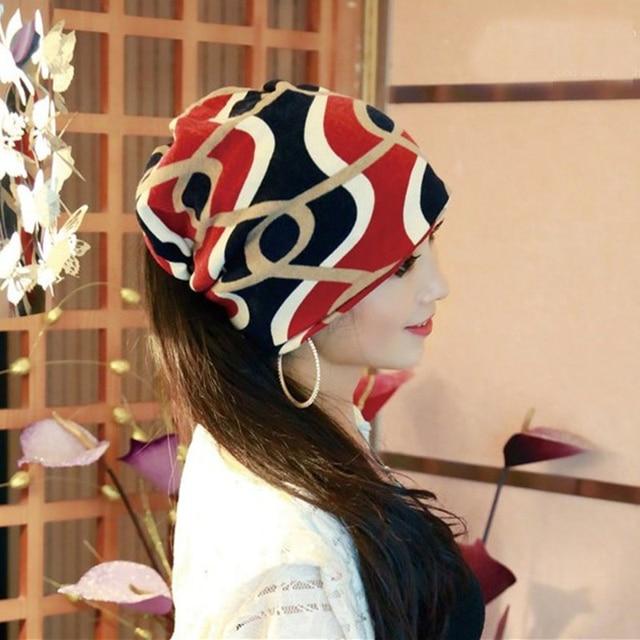 New Arrival Multifunctional Women's Hat Scarf Stripped Hip-Hop Beanie Spring&Autumn Snapback Cap Women Circle Beanie