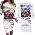 Women Fashion Floral Letter Print Sexy Oblique Neck One Shoulder Party Dress