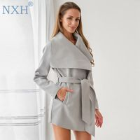 NXH new fashion women mid long coat ladies coats wool jacket Suede cape coat windbreak cashmere coat Belt trench