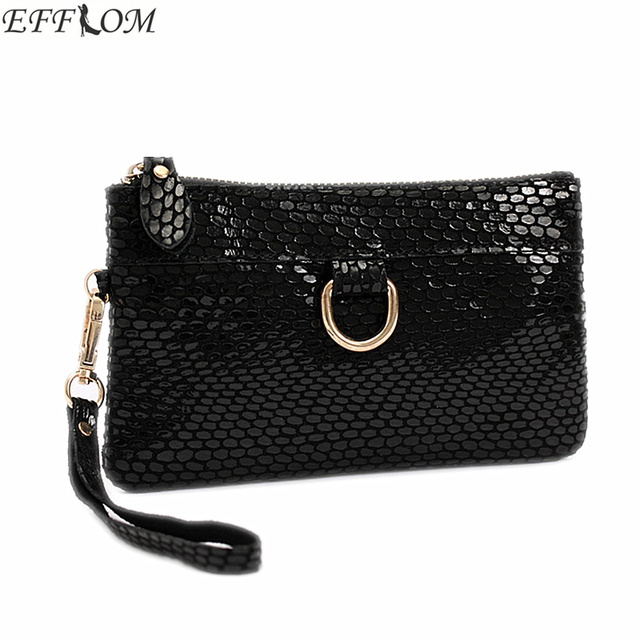 Fashion Women Bags Genuine Leather Suede Clutch Purse Leisure Serpentine Day Clutches With Wristlet Small