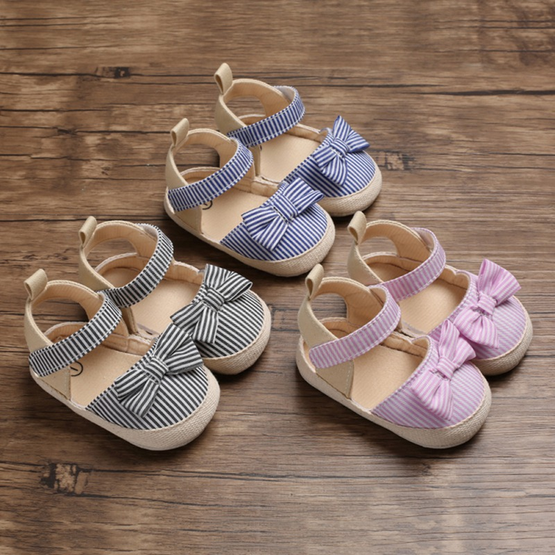Baby Sandals For Girl Toddler Breathable Stripe Pattern Anti-Slip Shoes With Bowknot Casual Sneakers Toddler Soft Soled Sandals