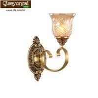 Qiseyuncai европейском стиле меди настенный светильник прикроватная тумбочка для спальни медь лампы теплый гостиная ТВ стены прохода коридор л