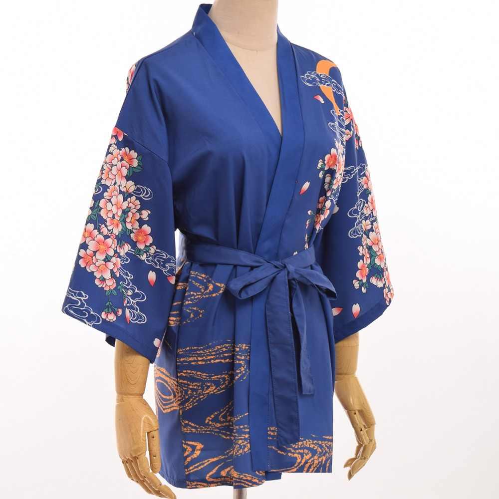 a28b697919cd4 ... Vintage Japanese Sleeping Haori Bathrobe Sakura Yukata Red Carp Kimono  Jacket 2 Colors ...