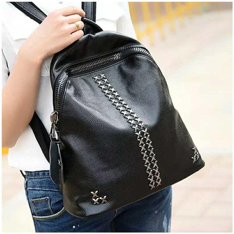 ФОТО DongHong genuine leather backpack vintage designer women double strap satchel bag cow leather La mochila