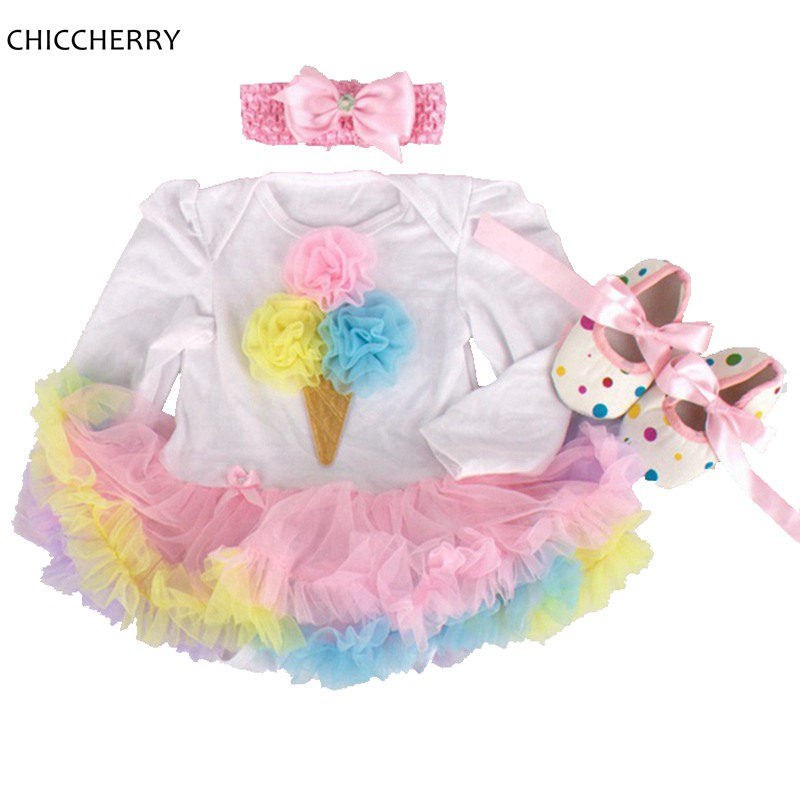 Icecream Ruffle Lace Romper Dress Pink Baby Girl Dress Headband & Crib Shoes Set Vestido De Bebe Princess Newborn Girl Clothes pink crown 1 year birthday dress princess infant baby girl tutu dresses headband shoes set vestido de bebe toddler clothes