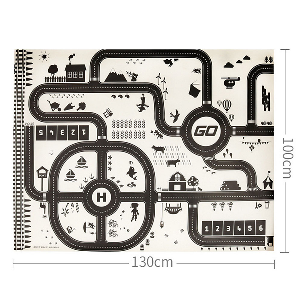 Image 3 - Modern 130*100CM Kids Portable Car City Scene Taffic Highway Map Play Mat Educational Toys For Children Games Road Carpet-in Play Mats from Toys & Hobbies