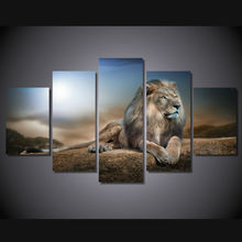 5 panel HD printed modular painting animals quiet-lion canvas print art modern home decor wall art picture for living room F0003