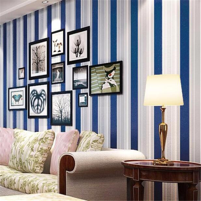 beautiful beibehang papier peint moderne salon papier peint bleu vertical rayures accueil papier. Black Bedroom Furniture Sets. Home Design Ideas