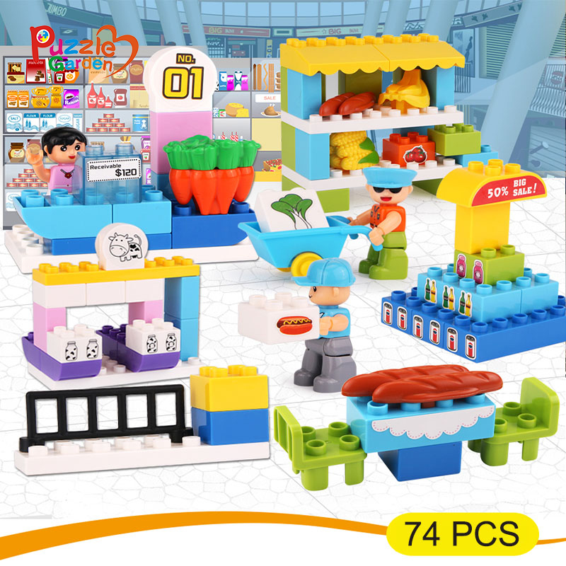 74Pcs Building Block Supermarket Figures Building Blocks Set Model Bricks Girl Toy Compatible Children Blocks 1065 10494 city supermarket building bricks blocks set girl toy compatible lepine friends 41118