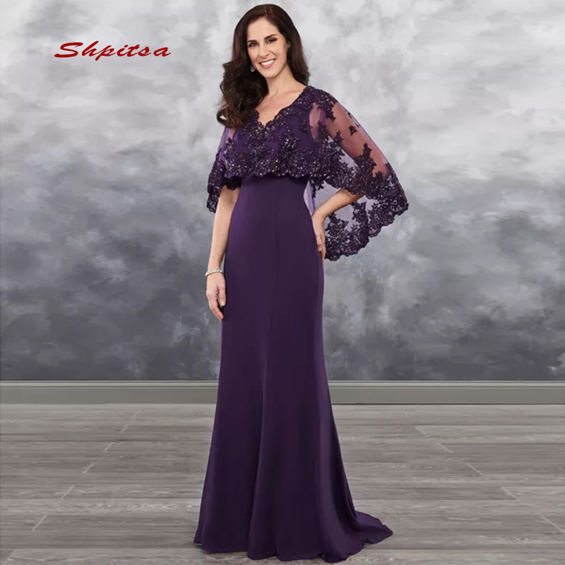 Purple Lace Mother Of The Bride Dresses For Weddings With Capes Bridal Formal Godmother Groom Dinner Dresses