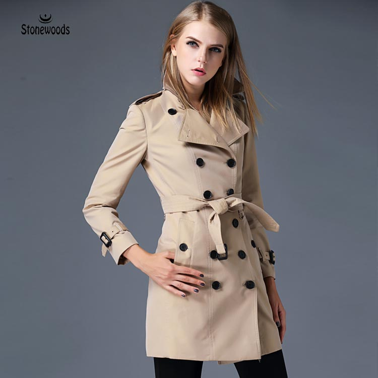 Women Long Trench Coat Spring Womens Clothing Windbreaker British Style Women Runway Fashion 2017 Designer Outwear