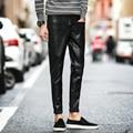 2017 Весна мужские Кожаные Брюки Новый Slim Fit Мужская искусственные Кожаные Штаны Корейский Черный PU Вскользь Брюки Pantalon Homme брюки