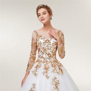 Image 4 - Женское свадебное платье Fansmile, золотистое кружевное платье с длинным рукавом и шлейфом, модель размера плюс на заказ, 2020