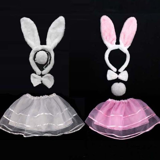 Pink White Rabbit Ear Headband Bow Tie Tail Skirt Kids Girls Cosplay Costume Set For Children Party Dress Decoration Halloween