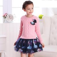 2019 Brand New Fall Girls Knitted Dress Princess Dress For School Big Kids Red Pink Winter Sweater Dresses Vetement Fille 13 14