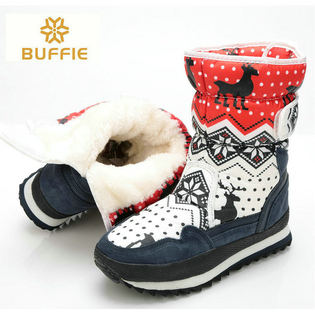 winter boots women fashion wear snow boots girl mid-calf autumn thick fur warm boots 2017 fabric Buffie brand winter shoes free