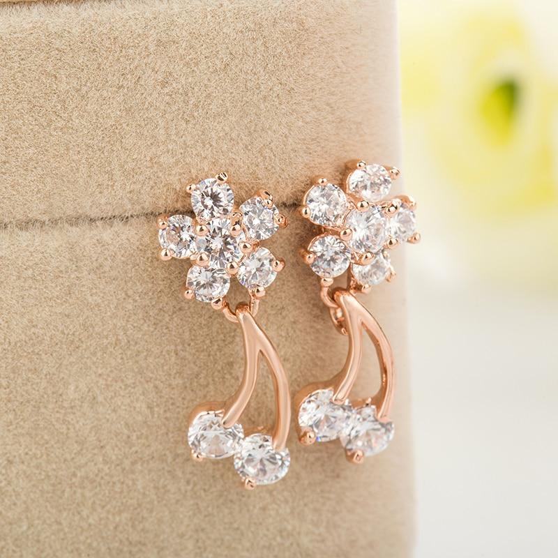 MZC Tassel Gold Small Stud Earring Ear Cuffs For Women Crystal ...